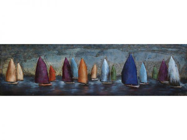 3D art Metaalschilderij - Zeilboten - handgeschilderd - 150 x 50 cm