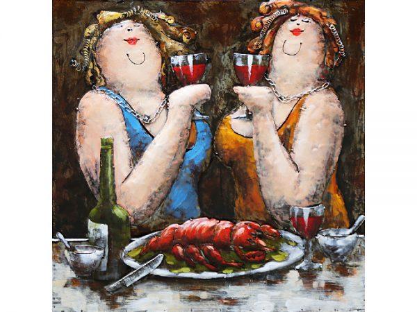 3D art Metaalschilderij - dames - handgeschilderd - 60 x 60 cm