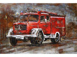3D art Metaalschilderij - Brandweerauto Magirus Deutz - handgeschilderd - 120 x 80 cm