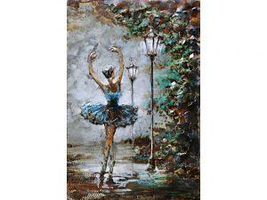 3D art Metaalschilderij - Ballerina - handgeschilderd - 80 x 120 cm