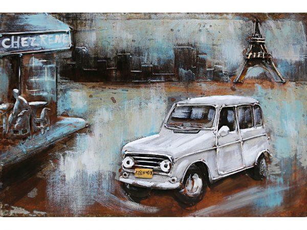 3D art Metaalschilderij - Renault 4 wit - handgeschilderd - 60 x 40 cm