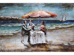 3D art Metaalschilderij - Dineren op het strand - 120 x 80