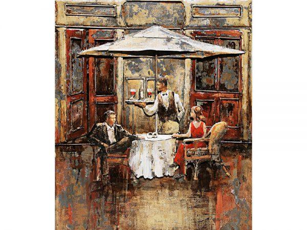 3D art Metaalschilderij - Terras - handgeschilderd - 60 x 70 cm