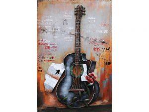 3D art Metaalschilderij - Gitaar - handgeschilderd - 60 x 90 cm