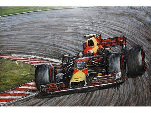 3D art Metaalschilderij - handgeschilderd - Formule 1 wagen rood - 120 x 80 cm