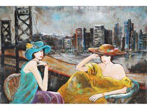 3D art Metaalschilderij - 2 dames - handgeschilderd - 120 x 80 cm