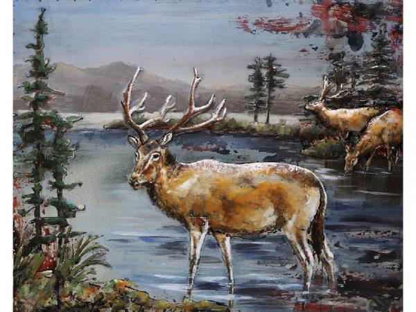 3D art Metaalschilderij - Rendier - handgeschilderd - 100 x 80 cm