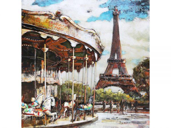 3D art Metaalschilderij - Parijs Kermis Eiffeltoren - handgeschilderd - 100 x 100 cm
