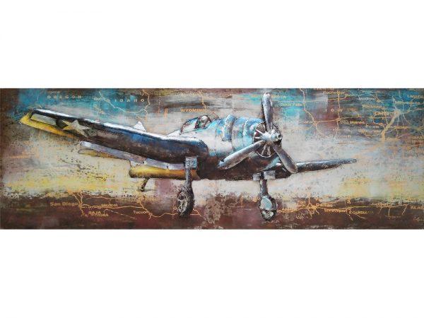 3D art Metaalschilderij - Propeller vliegtuig USA - handgeschakeld - 180 x 60 cm