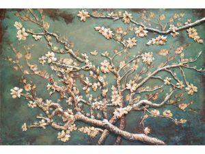 3D art Metaalschilderij - Amandel bloesem - handgeschilderd - 120 x 80 cm