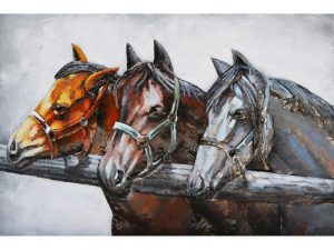 3D art Metaalschilderij - 3 paarden - handgeschilderd - 120 x 80 cm