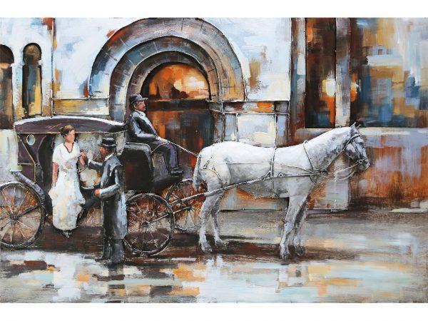 3D art Metaalschilderij - Rijtuig paard en koets - handgeschilderd - 120 x 80 cm