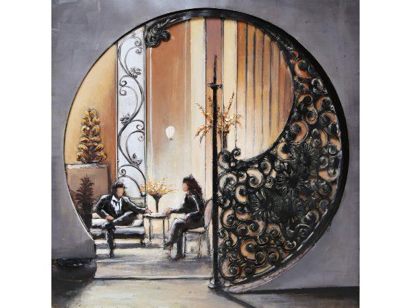 3D art Metaalschilderij - Yin Yang kamer - handgeschilderd - 100  x 100 cm