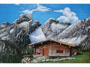 3D art Metaalschilderij - Chalet in de bergen - 120 x 80 cm