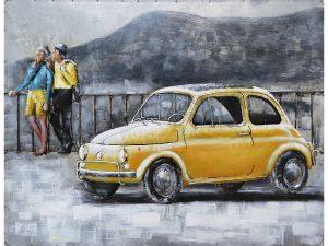3D art Metaalschilderij - Fiat 500 geel - handgeschilderd - 80 x 60 cm