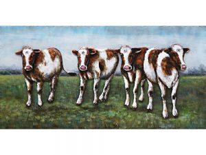 3D Metaalschilderij - Koeien in de wei - handgeschilderd - 120 x 60 cm