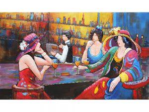 3D art Metaalschilderij - 3 Dames aan de bar - handgeschilderd - 150 x 105 cm