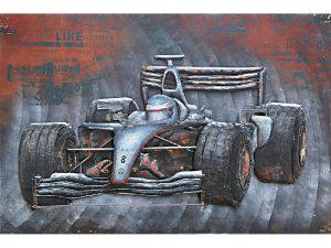 3D art Metaalschilderij - Formule 1 wagen - handgeschilderd - 120 x 80 cm