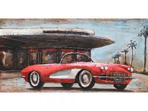 3D art Metaalschilderij - Corvette rood - handgeschilderd - 140 x 70 cm