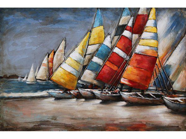 3D art Metaalschilderij - Zeilboten - handgeschilderd - 80 x 60 cm