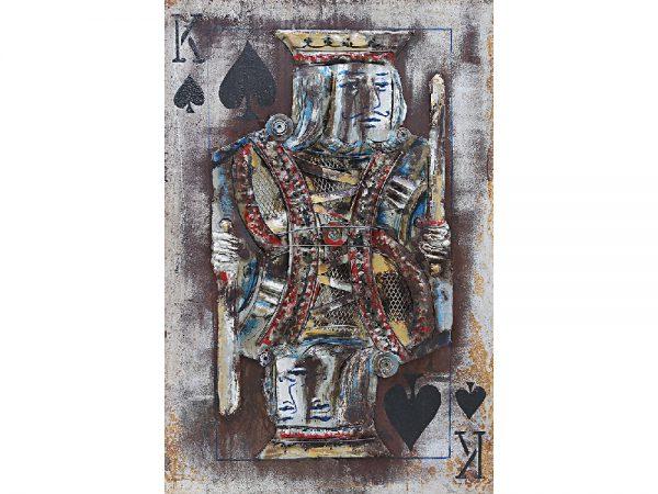 3D art Metaalschilderij handgeschilderd - speelkaart - Schoppen heer - 80 x 120 cm