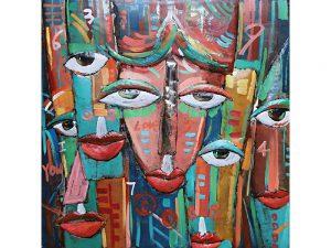 3D art Metaalschilderij - Funny Faces - handgeschilderd -  100 x 100 cm