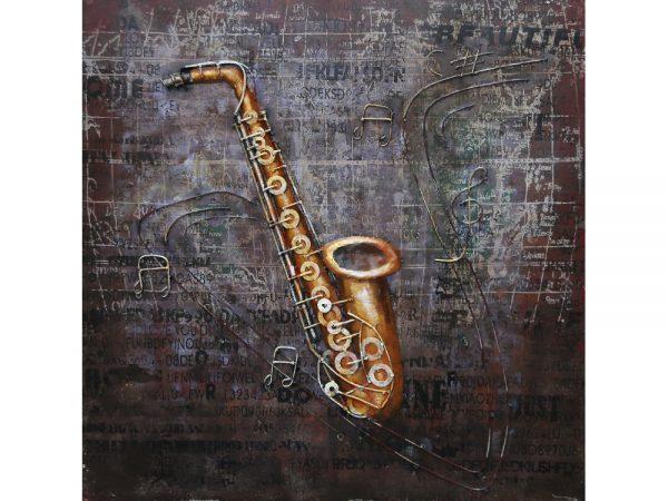 3D art Metaalschilderij - Saxofoon - handgeschilderd - 80 x 80 cm