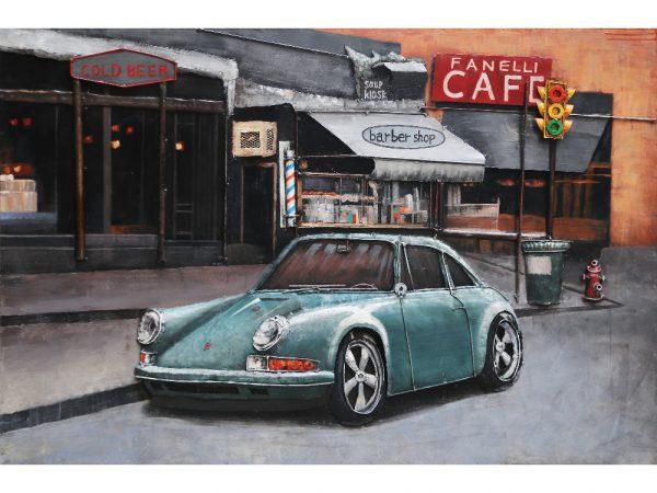 3D art Metaalschilderij - Porsche 911 blauw - 120 x 80 cm