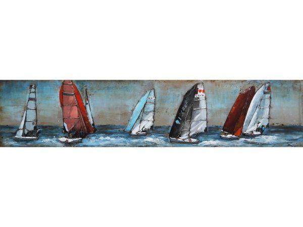 3D art Metaalschilderij handgeschilderd - Regatta - zeilboten - 180 x 40 cm