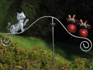 Tuinsteker - Balans kat en muis - 135 cm hoog