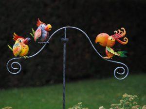 Tuinsteker - Balans grappige vogels - 140 cm hoog