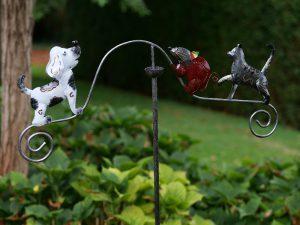 Tuinsteker - Balans kat, muis en hond - 130 cm hoog