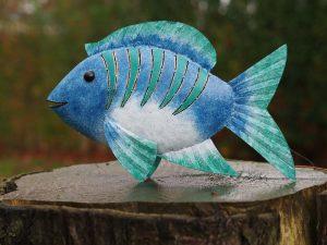 Tuinbeeld - Blauwe vis - 28 cm hoog
