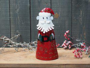 Metalen beeld - Kerst - Kerstman - 32 cm hoog - rood