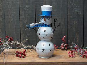 Metalen beeld - Kerst - Sneeuwpop - 45 cm hoog - rood