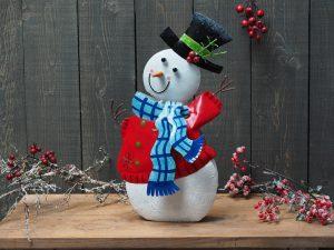 Beeld Kerst - Materiaal metaal - Sneeuwpop - 50 cm hoog - rood
