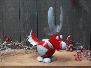 Beeld kerst - Materiaal metaal - Rendier - rood - 42 cm hoog