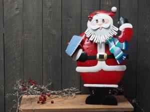 Metalen beeld - Kerst - kerstman - 73 cm hoog - rood