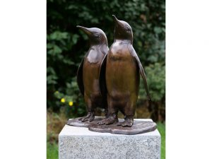Tuinbeeld - bronzen beeld - 2 Pinguins - 46 cm hoog