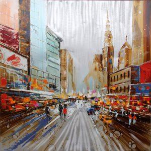 Olieverfschilderij canvas - schilderij New York - handgeschilderd - 100x100 - woonkamer slaapkamer