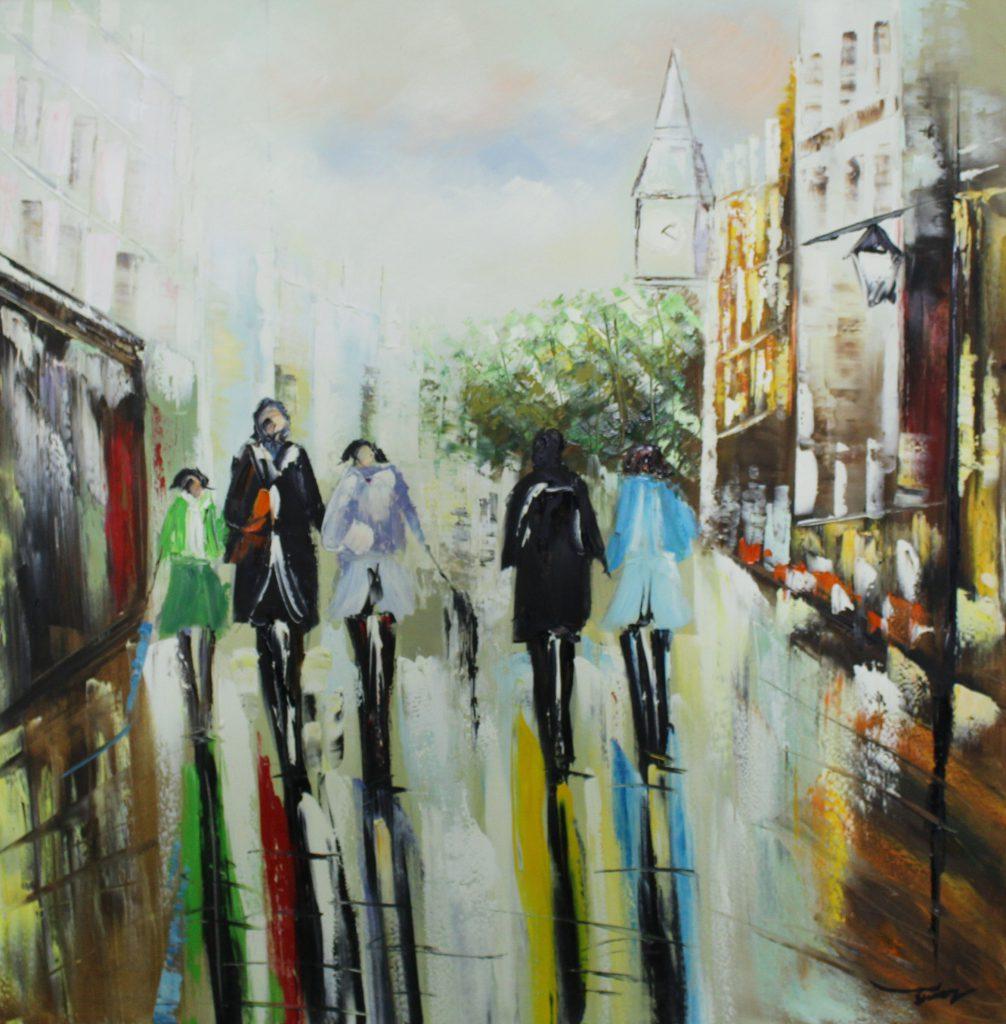 Olieverfschilderij canvas - schilderij mensen in de stad - handgeschilderd - 100x100 - woonkamer slaapkamer