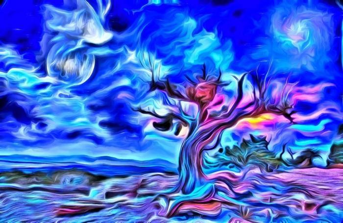 Glasschilderij - Abstracte boom - felblauw - schilderij fotokunst - foto print op glas - 120 x 80 cm